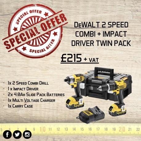 DeWalt 2 Speed Combi & Impact Driver Twin Pack
